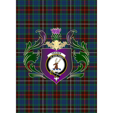 Fraser Hunting Ancient Clan Garden Flag Royal Thistle Of Clan Badge