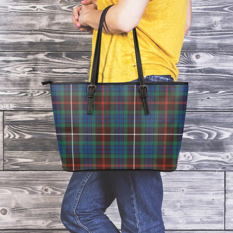 Fraser Hunting Ancient Tartan Leather Tote Bag (Large) | Over 500 Tartans | Special Custom Design