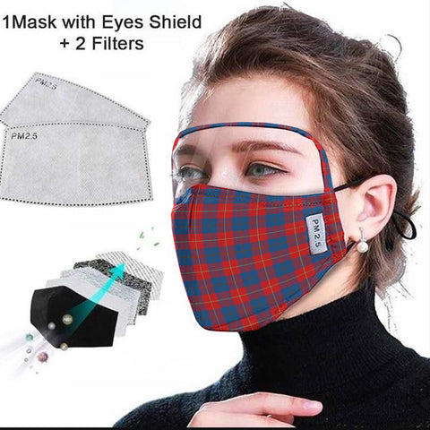 Galloway Red Tartan Face Mask With Eyes Shield - Red & Green  Plaid Mask TH8