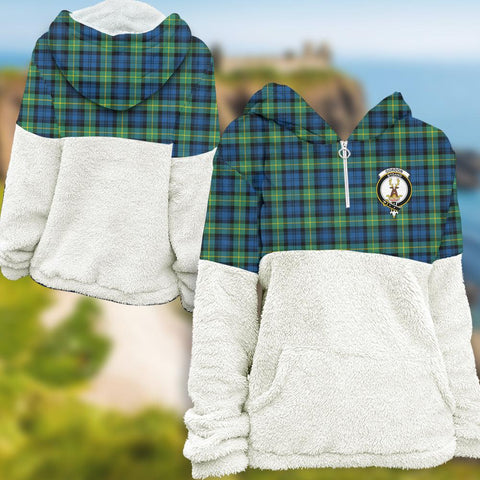 Gordon Ancient Tartan Clan Flannel Hoodie Women A91