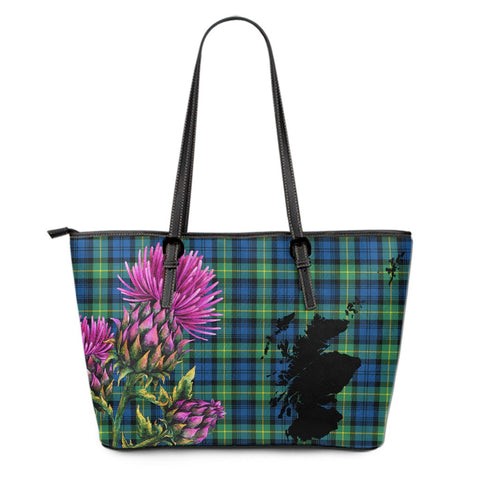 Gordon Ancient Tartan Leather Tote Bag Thistle Scotland Maps A91