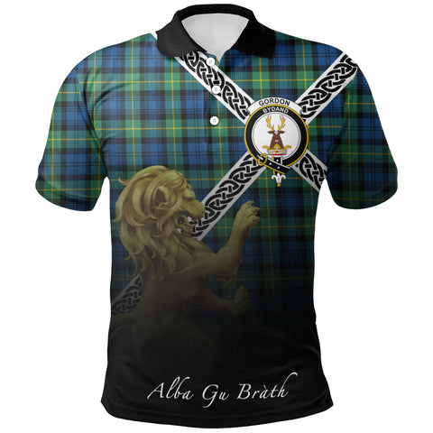 Gordon Ancient Polo Shirts Tartan Crest Celtic Scotland Lion A30