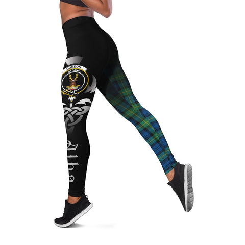 Gordon Ancient Crest Tartan Alba Celtic Leggings | Over 500 Tartans | Special Custom Design