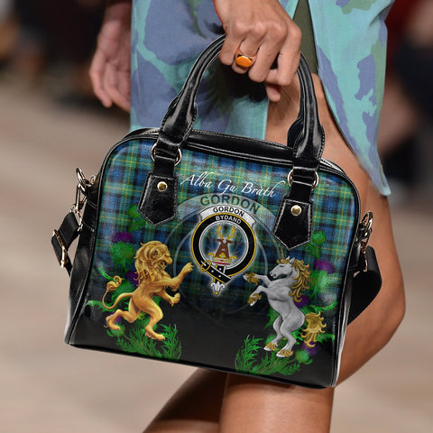 Image of Gordon Ancient Crest Tartan Lion Unicorn Thistle Shoulder Handbag A30