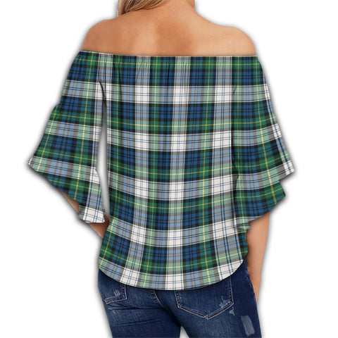 Gordon Dress Ancient Tartan Crest Off Shoulders Wrap Waist Top