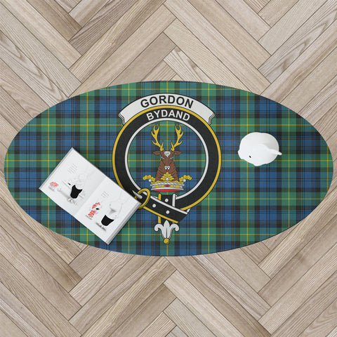 Image of Gordon Ancient Clan Tartan Crest Oval Rug