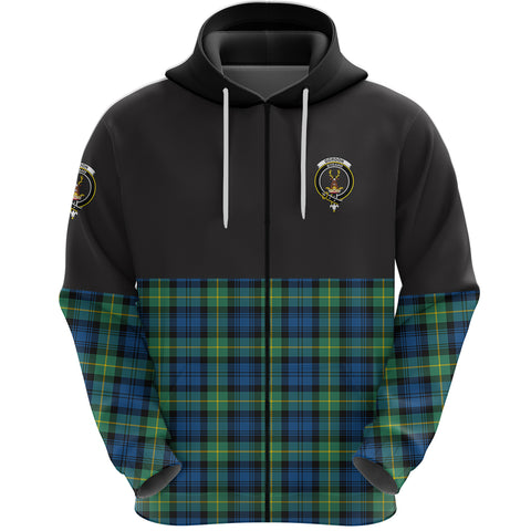 Gordon Ancient Clan Zip Hoodie Half of Tartan