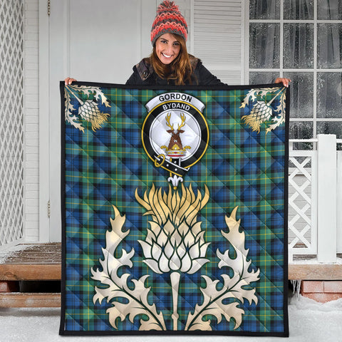 Gordon Ancient Clan Crest Tartan Scotland Thistle Gold Royal Premium Quilt