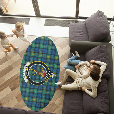 Image of Gordon Ancient Clan Tartan Crest Oval Rug K23