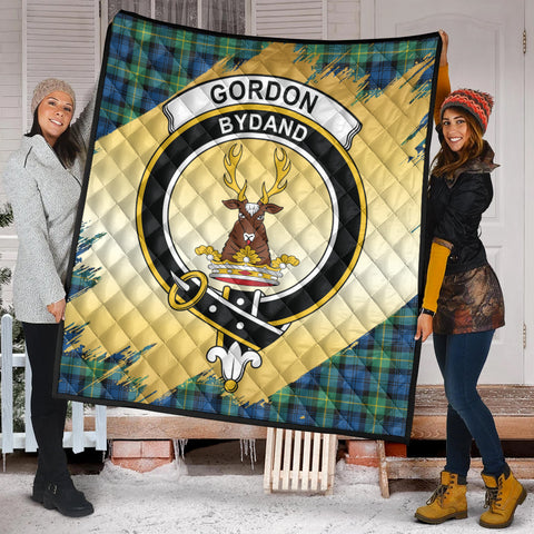 Gordon Ancient Clan Crest Tartan Scotland Gold Royal Premium Quilt K9