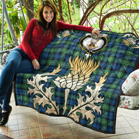 Gordon Ancient Clan Crest Tartan Scotland Thistle Gold Royal Premium Quilt K9