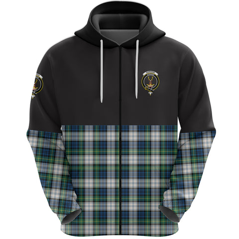 Gordon Dress Ancient Clan Zip Hoodie Half of Tartan