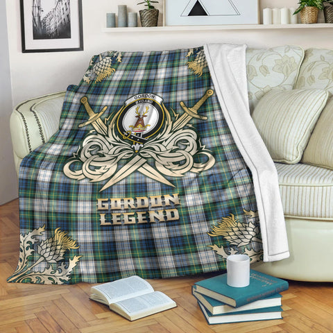 Premium Blanket Gordon Dress Ancient Clan Crest Gold Courage Symbol