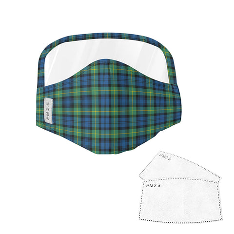 Gordon Ancient Tartan Face Mask With Eyes Shield - Green & Blue  Plaid Mask TH8