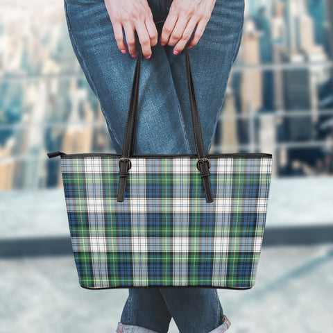 Gordon Dress Ancient Tartan Leather Tote Bag (Large) | Over 500 Tartans | Special Custom Design