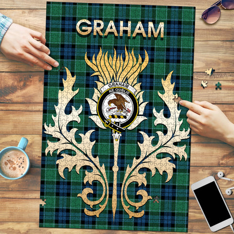 Graham of Menteith Ancient Clan Name Crest Tartan Thistle Scotland Jigsaw Puzzle