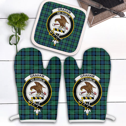 Graham of Menteith Ancient Clan Crest Tartan Scotland Oven Mitt And Pot-Holder (Set Of Two)