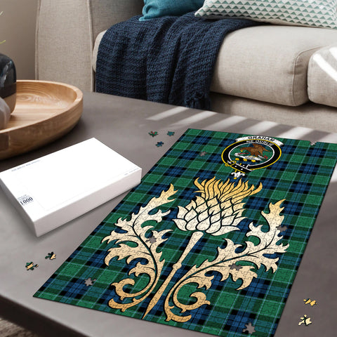 Graham of Menteith Ancient Clan Crest Tartan Thistle Gold Jigsaw Puzzle