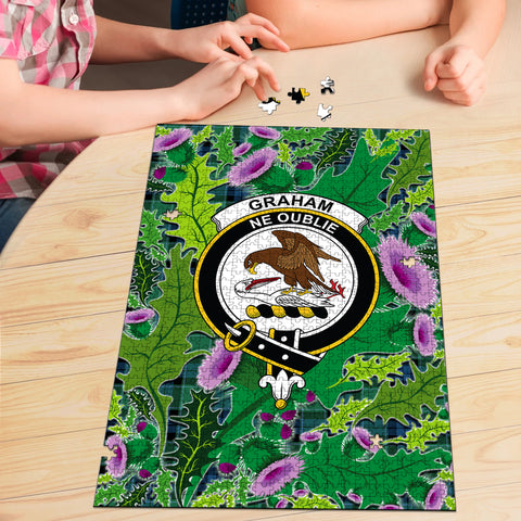 Graham of Menteith Ancient Clan Crest Tartan Thistle Pattern Scotland Jigsaw Puzzle