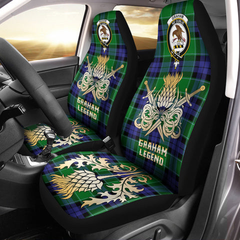 Car Seat Cover Graham of Menteith Modern Clan Crest Gold Thistle Courage Symbol