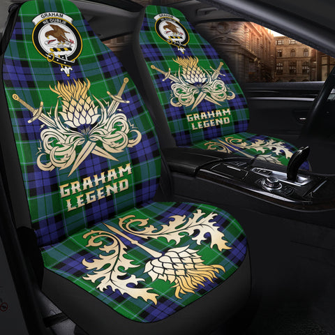 Car Seat Cover Graham of Menteith Modern Clan Crest Gold Thistle Courage Symbol K9