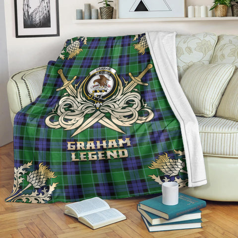 Premium Blanket Graham of Menteith Modern Clan Crest Gold Courage Symbol