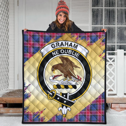 Graham of Menteith Red Clan Crest Tartan Scotland Gold Royal Premium Quilt