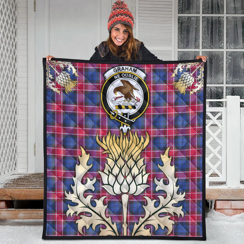 Graham of Menteith Red Clan Crest Tartan Scotland Thistle Gold Royal Premium Quilt