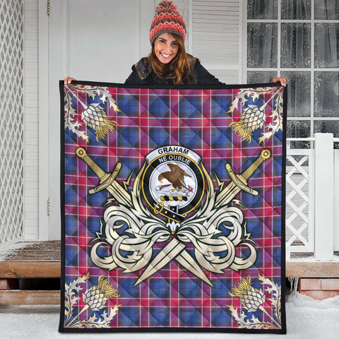 Graham of Menteith Red Clan Crest Tartan Scotland Thistle Symbol Gold Royal Premium Quilt