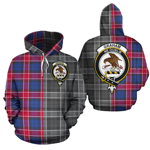 Graham of Menteith Red Clan Half Of Me New Version Crest Tartan Hoodie
