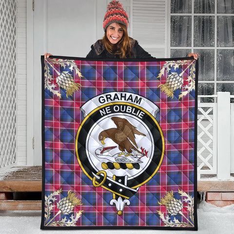 Graham of Menteith Red Clan Crest Tartan Scotland Thistle Gold Pattern Premium Quilt
