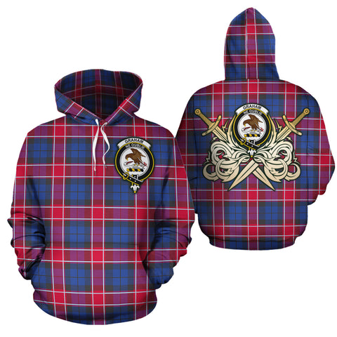 Graham of Menteith Red Clan Crest Tartan Scottish Gold Thistle Hoodie