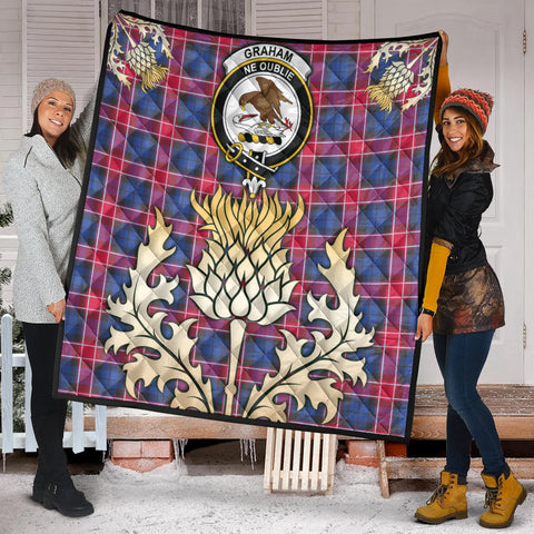 Graham of Menteith Red Clan Crest Tartan Scotland Thistle Gold Royal Premium Quilt K9