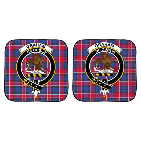 Graham of Menteith Red Clan Crest Tartan Scotland Car Sun Shade 2pcs K7