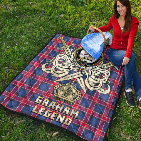 Graham of Menteith Red Clan Crest Tartan Scotland Clan Legend Gold Royal Premium Quilt K9