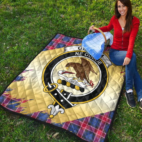 Graham of Menteith Red Clan Crest Tartan Scotland Gold Royal Premium Quilt K9