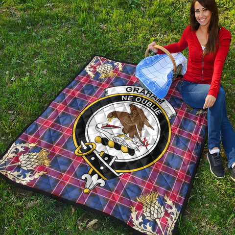 Graham of Menteith Red Clan Crest Tartan Scotland Thistle Gold Pattern Premium Quilt K9