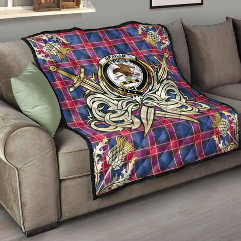 Graham of Menteith Red Clan Crest Tartan Scotland Thistle Symbol Gold Royal Premium Quilt K9