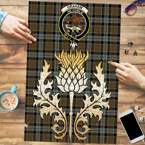Graham of Menteith Weathered Clan Crest Tartan Thistle Gold Jigsaw Puzzle