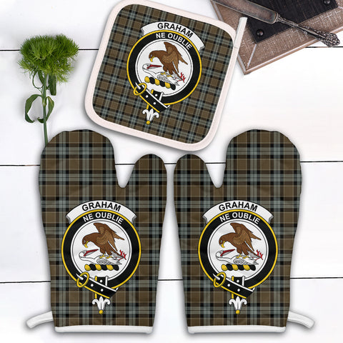 Graham of Menteith Weathered Clan Crest Tartan Scotland Oven Mitt And Pot-Holder (Set Of Two)