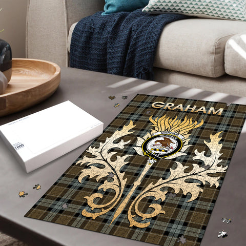 Graham of Menteith Weathered Clan Name Crest Tartan Thistle Scotland Jigsaw Puzzle