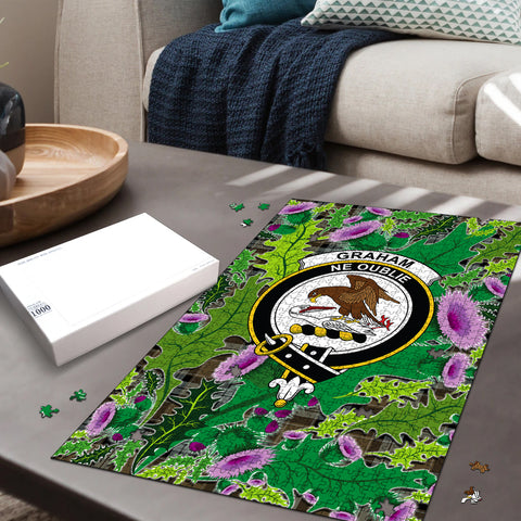Graham of Menteith Weathered Clan Crest Tartan Thistle Pattern Scotland Jigsaw Puzzle