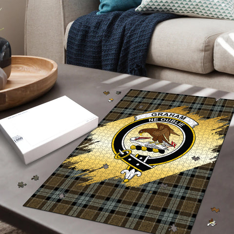 Graham of Menteith Weathered Clan Crest Tartan Jigsaw Puzzle Gold