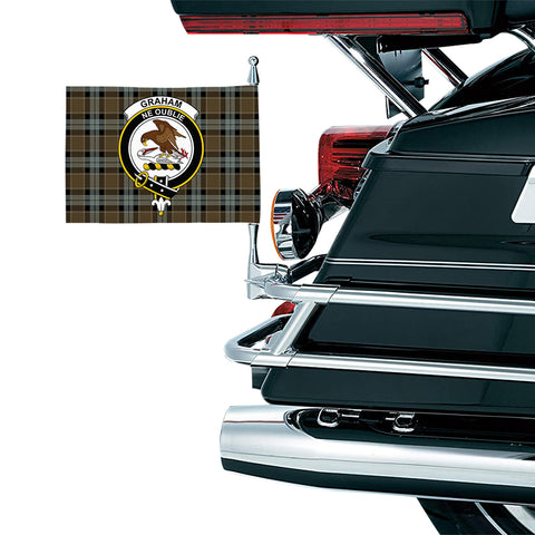 Graham of Menteith Weathered Clan Crest Tartan Motorcycle Flag