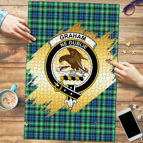 Graham of Montrose Ancient Clan Crest Tartan Jigsaw Puzzle Gold