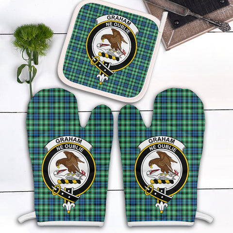 Graham of Montrose Ancient Clan Crest Tartan Scotland Oven Mitt And Pot-Holder (Set Of Two)