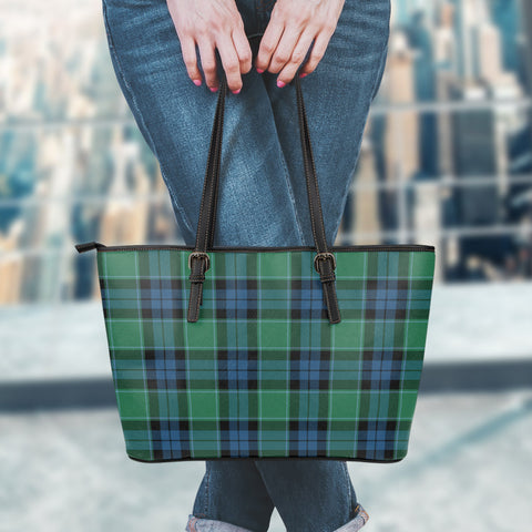 Graham of Menteith Ancient Tartan Leather Tote Bag (Small) | Over 500 Tartans | Special Custom Design
