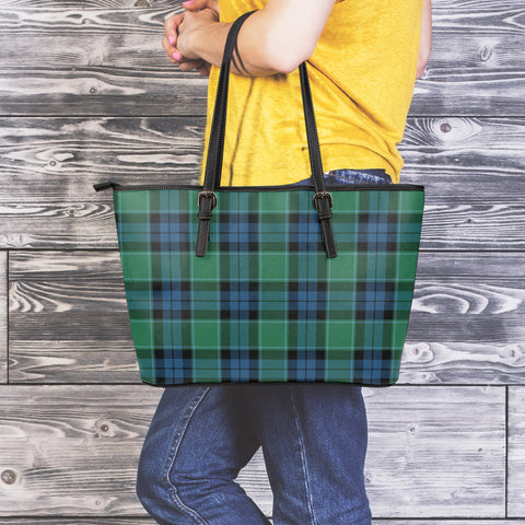Graham of Menteith Ancient Tartan Leather Tote Bag (Large) | Over 500 Tartans | Special Custom Design
