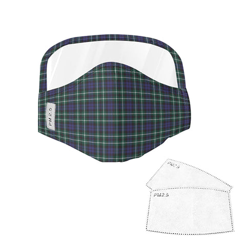 Graham of Montrose Modern Tartan Face Mask With Eyes Shield - Blue & Green  Plaid Mask TH8