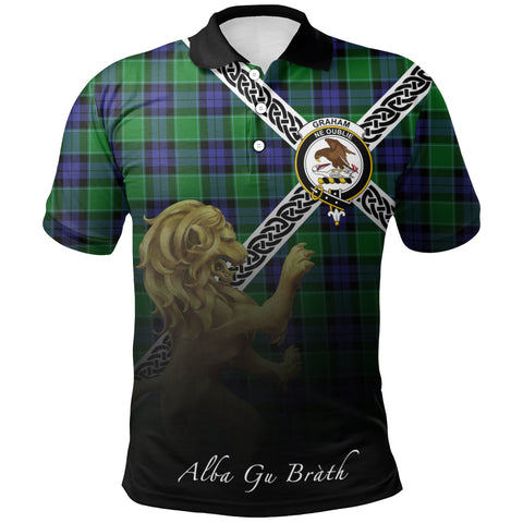 Graham of Menteith Modern Polo Shirts Tartan Crest Celtic Scotland Lion A30